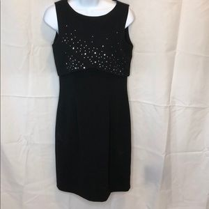 David Warren Petites black studded sheath dress 6P